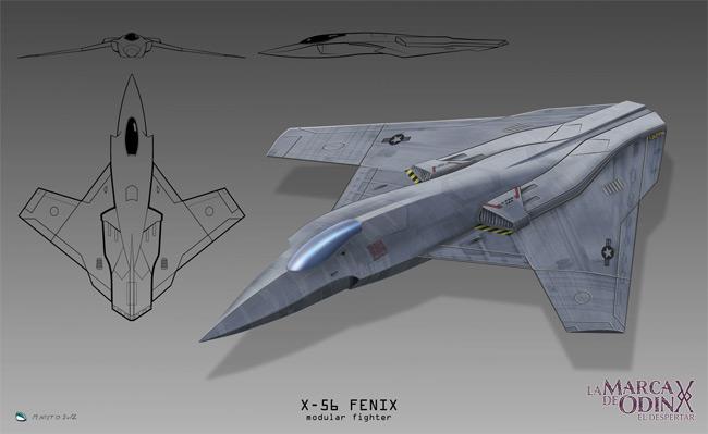 Dibujo en 3D del x-56 Fenix